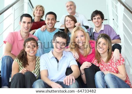Teachers and pupils - stock photo