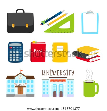 Teachers and students tools icons. subjects for study cartoon collection. Illustration of building school and organizer book