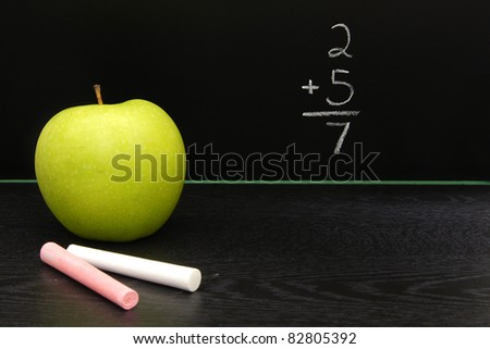 Teachers apple and chalk on a desk in front of a blackboard with math equation written on it