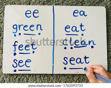 Teaching Phonics Alternatives Vowels Digraphs Spellings Using Sound Buttons Stok fotoğraf ©