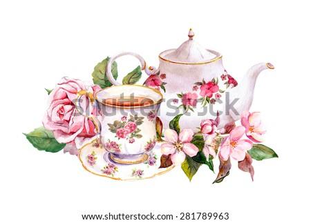 teacup and tea pot with pink...