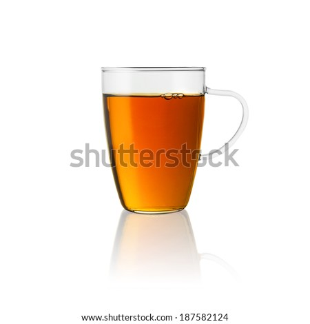 teacup tea hot drink aroma isolated on white background with reflection