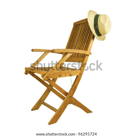 teak deck chair with sun hat on a white background