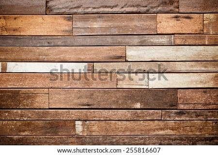 teak wood plank wall for decoration #255816607
