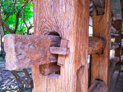 Teak wood poles as a buffer for building traditional houses in Java, Indonesia.