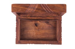Teak Wood retro casket empty. Open old wooden box isolated on white background. Top view.