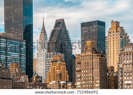 Teal and orange color of NYC midtown view and the East river from Roosevelt Island Stock photo ©
