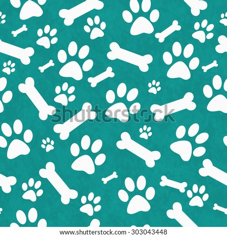 Teal and White Dog Paw Prints and Bones Tile Pattern Repeat Background that is seamless and repeats
