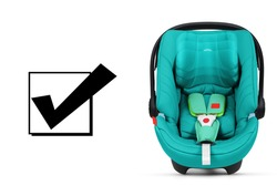Teal Baby Carrier Isolated on White Background. Front View of Turquoise Child Safety Seat. Modern Restraining Car Seat with Side Impact Protection. Infant Restraint System. Travel Gear