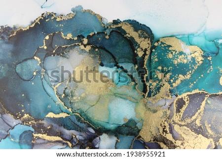 Teal Black Gold Alcohol Ink Fluid Art