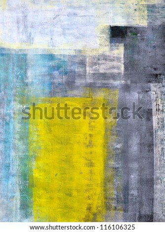 Teal, Grey and Yellow Abstract Art Painting