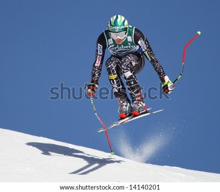 Team America Bode Miller from the USA takes to the air and jumps the Hundschopf at the world famous Lauberhorn downhill ski race Wengen Switzerland part of the Audi FIS Alpine skiing world cup.