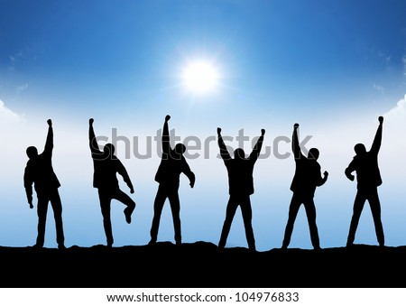 Team and sun glow. Sport and active life - stock photo