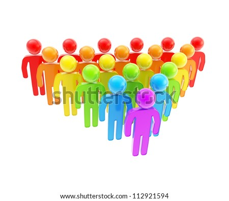 Team building and company unit as group of colorful glossy symbolic human figures isolated on white background