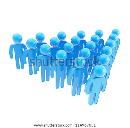 ... blue plastic human figures isolated on white background - stock photo