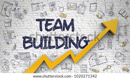Team Building Inscription on the Modern Style Illustation. with Orange Arrow and Doodle Design Icons Around. Team Building Drawn on White Wall. Illustration with Doodle Design Icons.