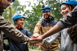 Team building outdoor in the forest