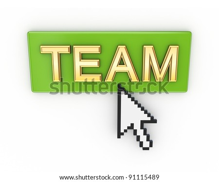 Team button.Isolated on white background.3d rendered.