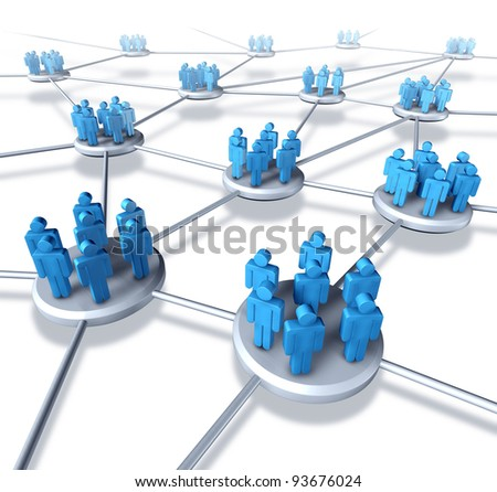 Team communication network with groups of business people working in partnership as a connected networking mobile technology structure exchanging information and services working together to succeed.