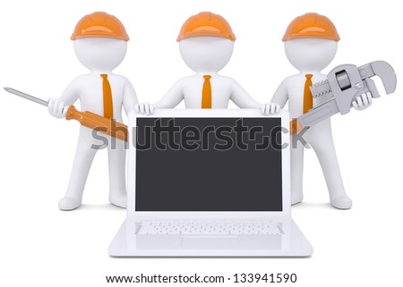 Team 3d humans with tools near the laptop. Isolated render on a white background