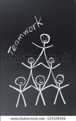 Team drawn in chalk on blackboard