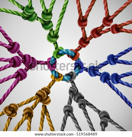 Team groups network as individual diverse teams coming together connected to a central point as an abstract communication concept or social connection metaphor with linked ropes of different colors. #519568489