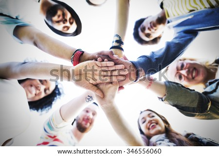 Team Hands Together Teamwork Participation People Concept