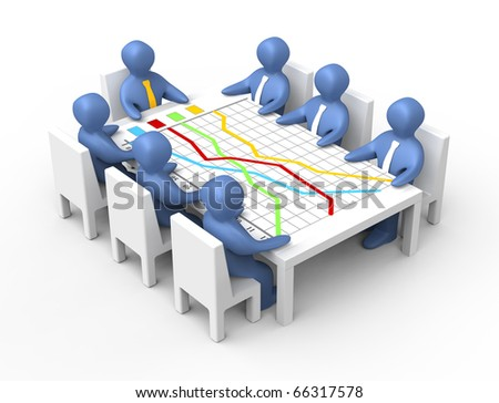 Team has a meeting at the table above the graph.