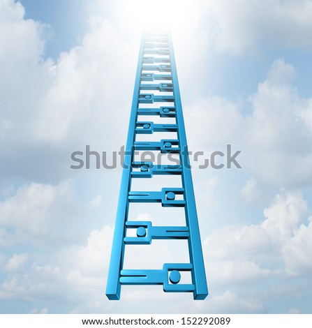 Team ladder of opportunity and group support success as a staircase made of business people icons working together moving high up as a concept of achievement and strategic teamwork planning.