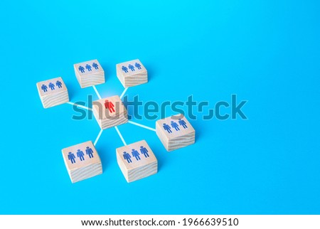 Team Leader focuses all connections on himself. Leadership skills, complete control. Distribution of indications in the vertical hierarchy. Subordination, business management. Decision making center. Stock photo ©