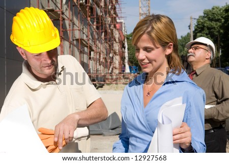 team of architect at the building site