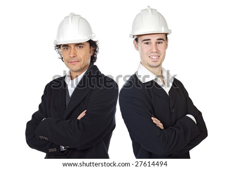 Team of architects isolated over white