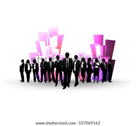 Team of business people with a building background.