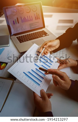 Team of business people working together in the meeting room office, teamwork background charts and graphs banner, double exposure successful teamwork,business planning concept.
