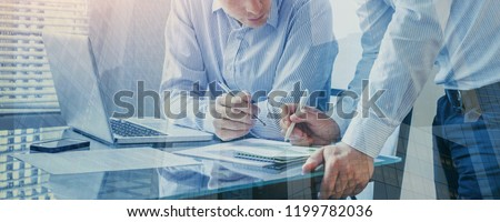 team of business people working together in the office, teamwork background banner, double exposure