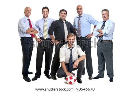 Team of businessmen with soccer ball