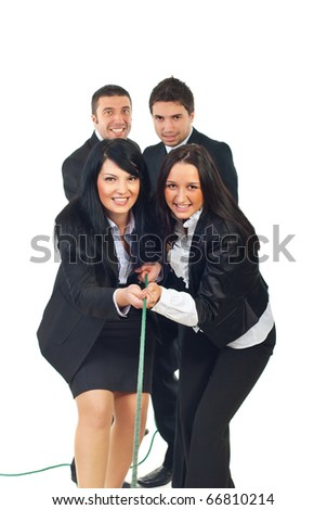 Team of businesswomen and team of businessmen pulling rope together isolatedon white background