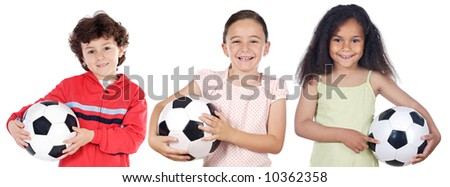 Team of children with soccer ball a over white background