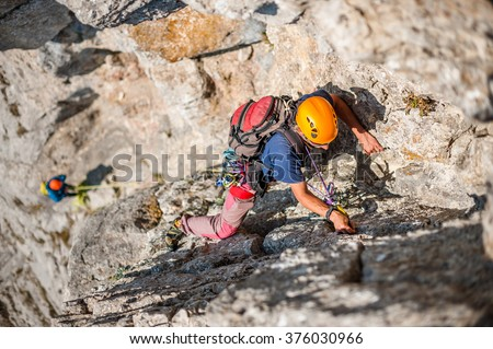 Team of climbers on the rock.
