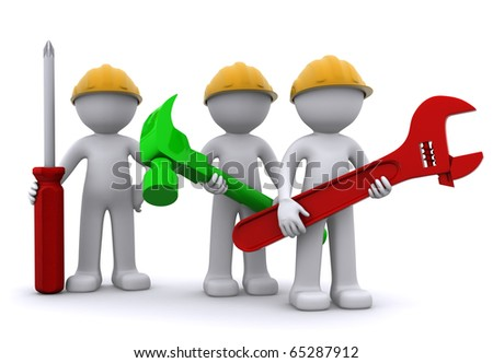 Team of construction worker with equipment. Isolated