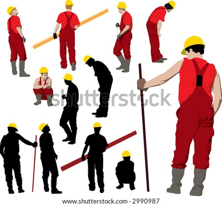 Team of Construction workers in red workwear an yellow helmets. Illustration and silhouettes