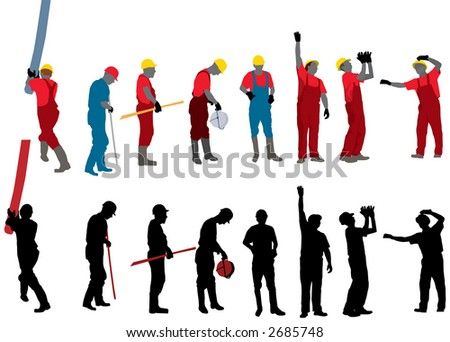 Team of Construction workers Photoshop silhouette