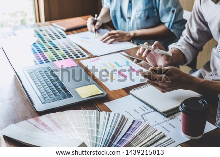 Team of Creative Web/Graphic Designer planning, drawing website ux app for mobile phone application and development template layout, process to developing prototype wireframe, User experience concept. #1439215013