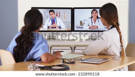 Team of diverse medical doctors having a video conference