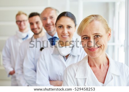 Team of doctors and nurses as colleagues in hospital