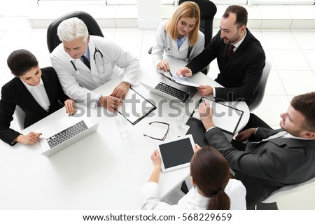 Team of doctors working in clinic