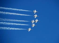 Team of fighter jets flying in formation