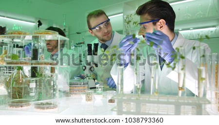Team of Food Researchers Examining Bio Plant Seedlings in Nursery Laboratory, Botanists Lab Scientists People Doing Microscopic Biological Test on Organic Seed, Future Science Research Activity ストックフォト ©