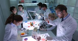 Team of Forensics Researchers Working in Hospital Scientific Lab, Group of Scientists Collaboration Activity in Modern Laboratory, Futuristic Scientific Projects Concept