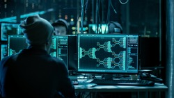 Team of Internationally Wanted Hackers Teem Organizing Advanced Malware Attack on Corporate Servers. Hacker is Working in His Computer. Place is Dark and Has Multiple displays.